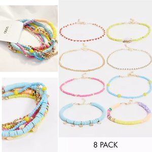 NWT ASOS 8-Pack Anklets in Mixed Beaded Designs